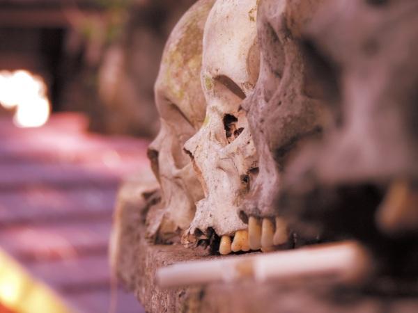 Skulls line the coffins
