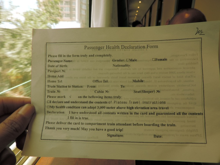 You will be given a form at the start of the journey, basically stating that