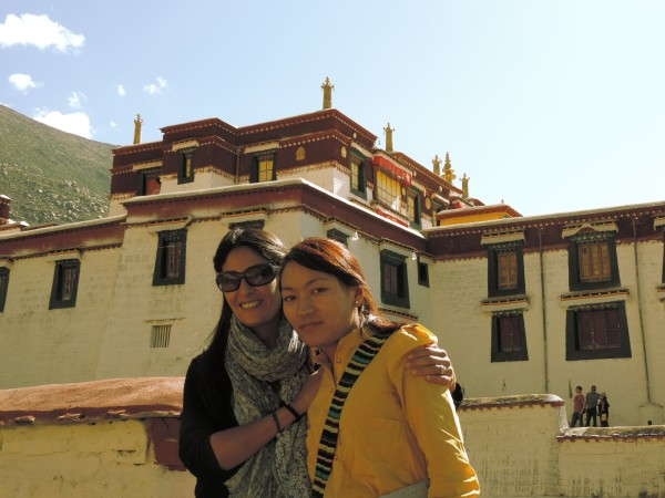 Me and our guide Choedren at Drepung Monastery