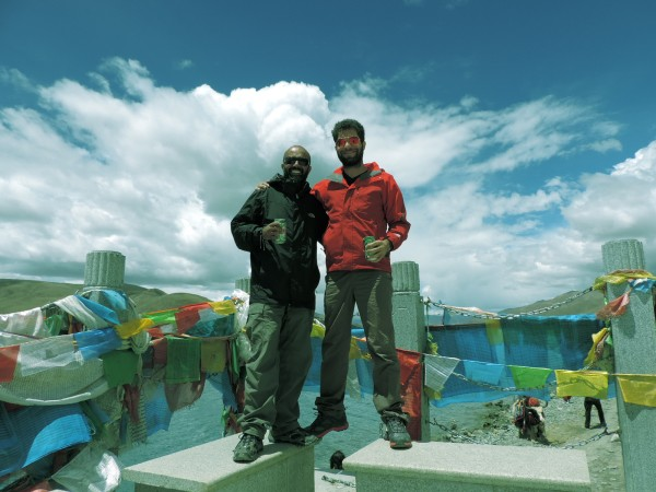Asad with Charles at the shoreline of Yamdruk Lake